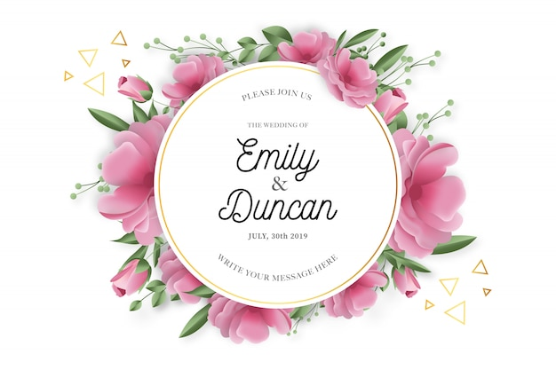 Beauty wedding frame with realistic flowers Free Vector
