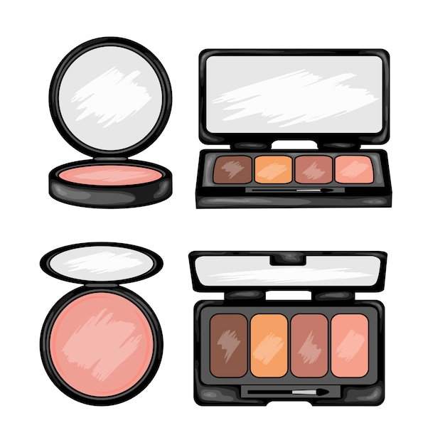 Beauty With Makeup Kit Cartoon Style Premium Vector
