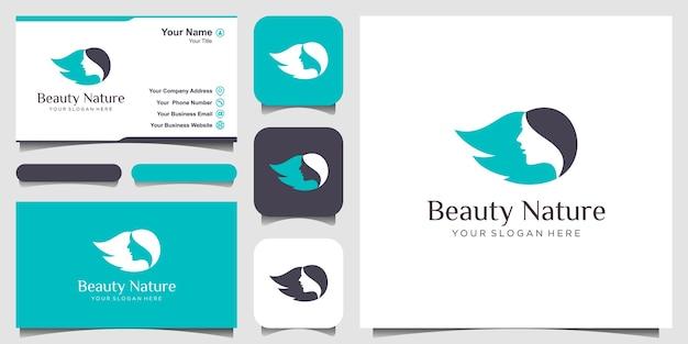 Beauty woman face and hair salon logo design Premium Vector