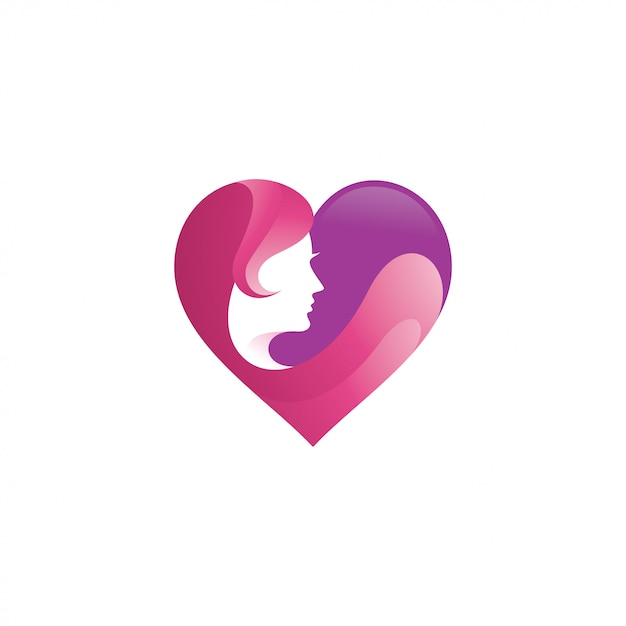 Beauty woman face and heart love logo Premium Vector