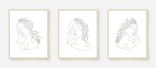 Beauty woman faces in line art floral frame Premium Vector