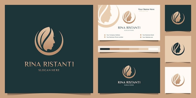 Beauty woman hair salon gold gradient logo design and business card. Premium Vector