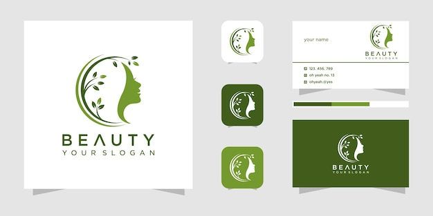 Beauty woman hair salon logo design Premium Vector