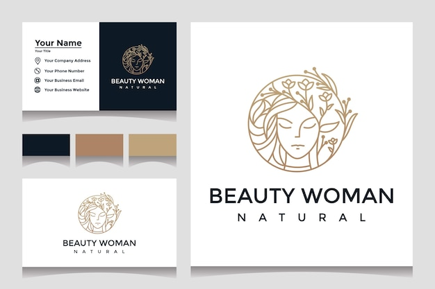 Beauty woman logo design inspiration with business card for skin care, salon with leaf combination Premium Vector
