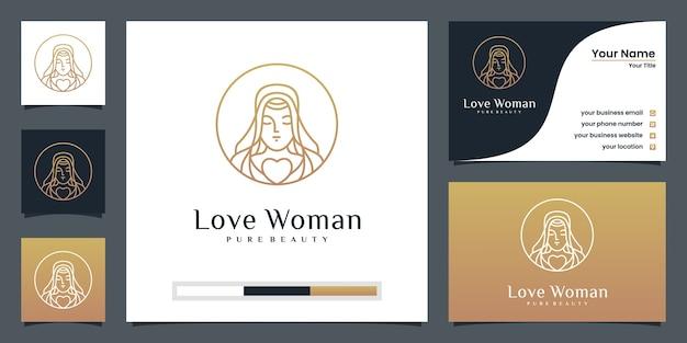 名刺と美女のロゴデザイン Premiumベクター