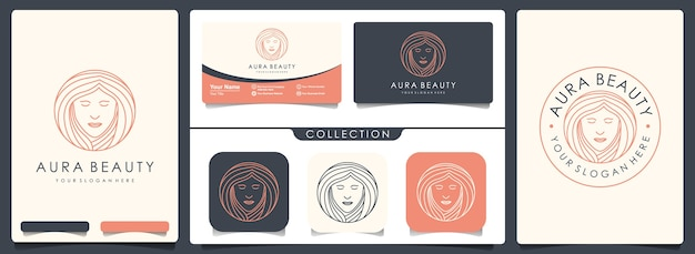 Beauty woman logo with set of vintage and business card template Premium Vector