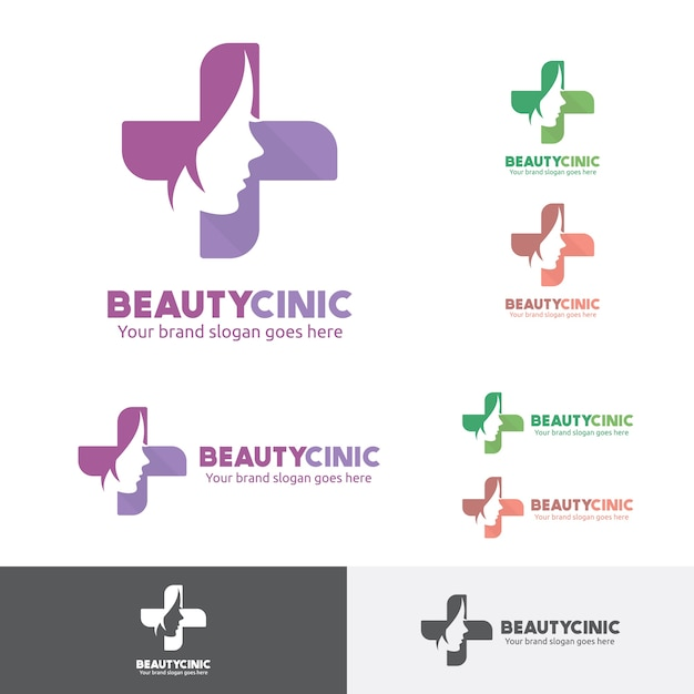 Beauty woman medical clinic logo with face and cross symbol. Premium Vector