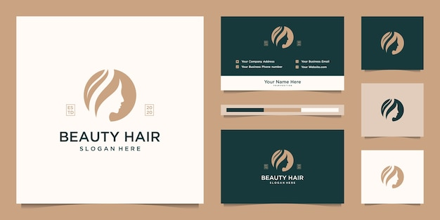 Beauty women face feminine symbol for salon, cosmetic, skin care and spa. logo  and business card Premium Vector