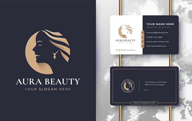 Beauty women face logo design with business card Premium Vector