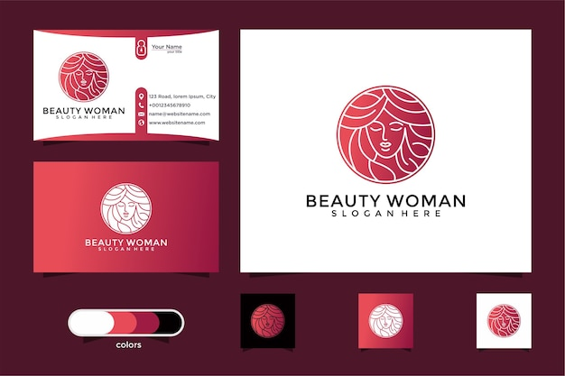 Beauty women gold logo design and business card. good use for spa and beauty salon logo Premium Vector