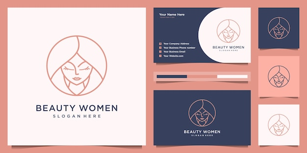 Beauty women hair salon logo design line art style. logo design and business card. Premium Vector