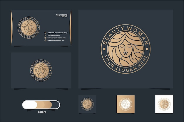 Beauty women line art logo design and business card. good use for salon and spa logo Premium Vector