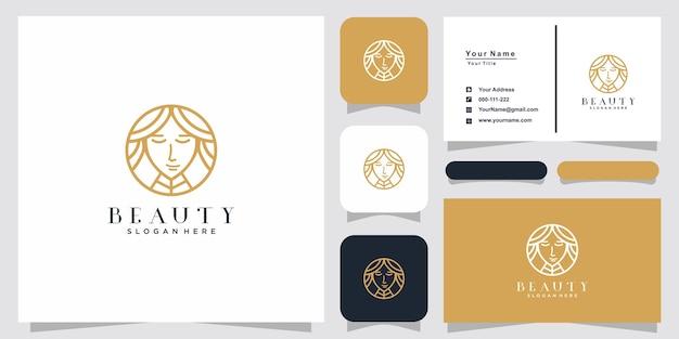 Beauty women line art logo inspiration and business card design Premium Vector