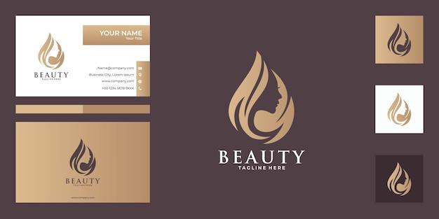 Beauty women logo design and business card, good use for fashion, salon, spa logo Premium Vector