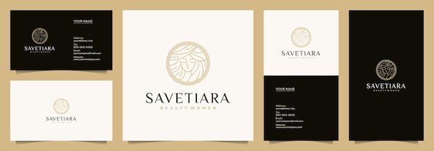 Beauty women logo design inspiration for skin care, salons and spa, with name cards, business cards, Premium Vector