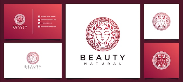 Beauty women logo design inspiration with business card for skin care, salons and spas, with leaf combination Premium Vector