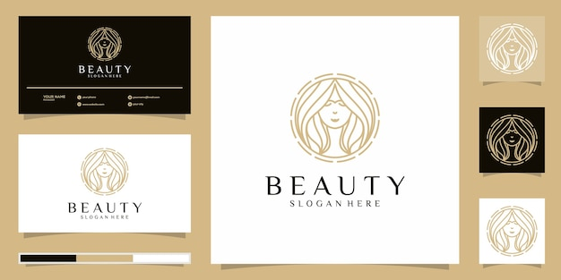 Beauty women logo  . logo design and business card Premium Vector