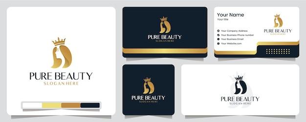 Beauty women,luxury, salon, spa, gold color ,banner, business card and logo design Premium Vector
