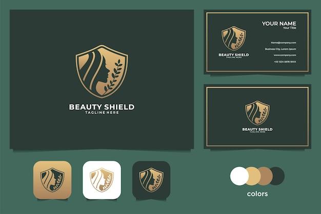 美容女性の盾のロゴと名刺。スパ、ビューティーサロン、ファッションロゴに最適 Premiumベクター