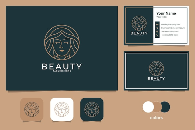 Beauty women with line art style logo design and business card. good use for fashion, spa and salon logo Premium Vector