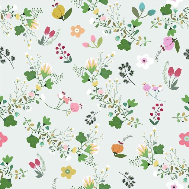 森林のシームレスなパターンで美しい花。 Premiumベクター