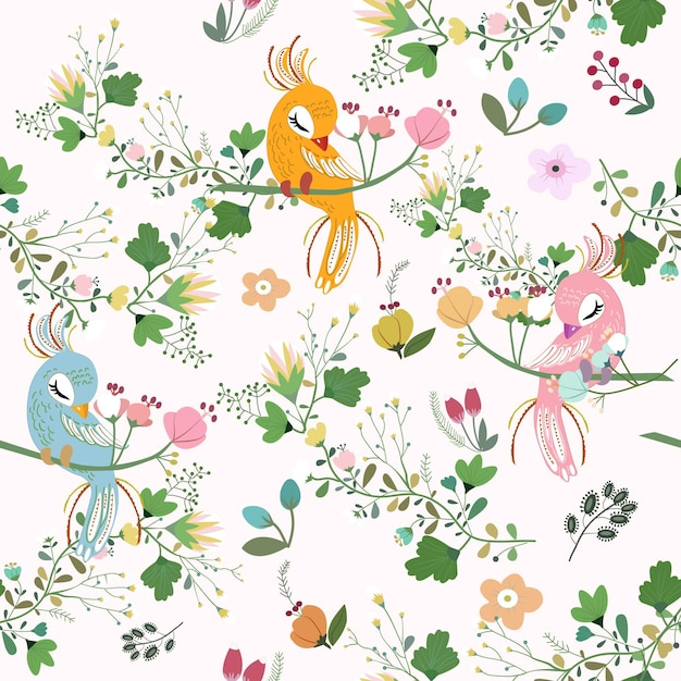 Beautyful peacock with flower seamless pattern. Premium Vector