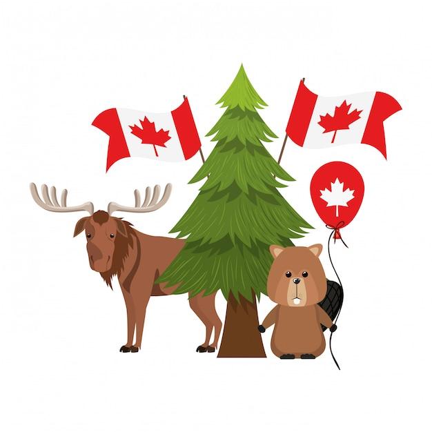カナダのビーバーとムース動物 無料ベクター