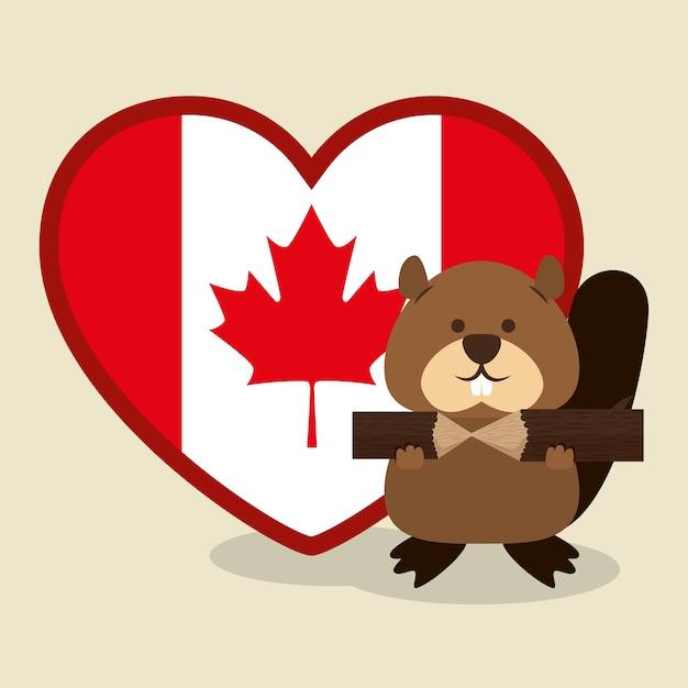 ビーバーカナダの動物のシーンのベクトルのイラストのデザイン Premiumベクター