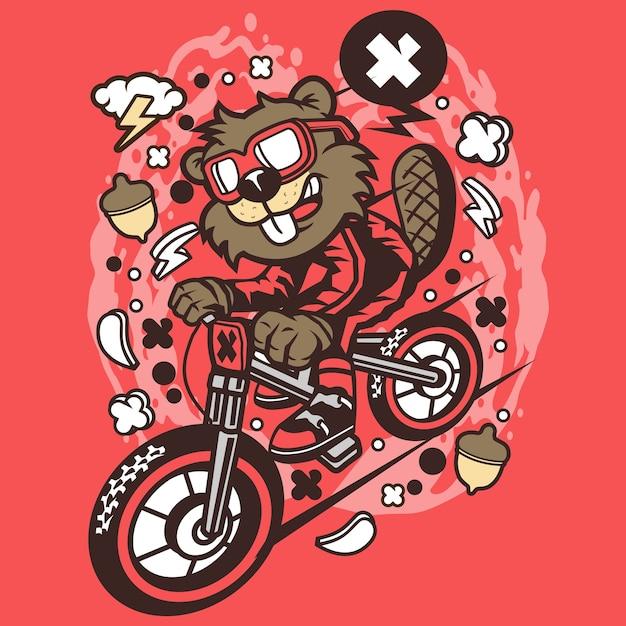Beaver downhill cartoon Premium Vector