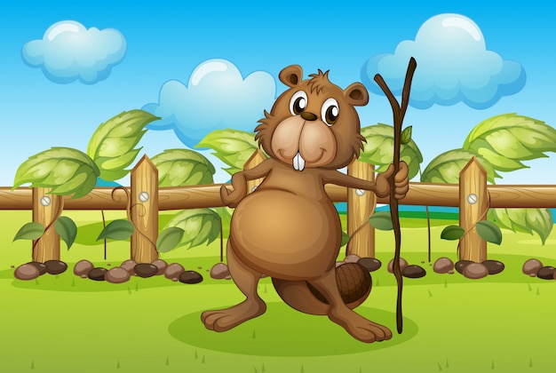 A beaver holding a stick Free Vector