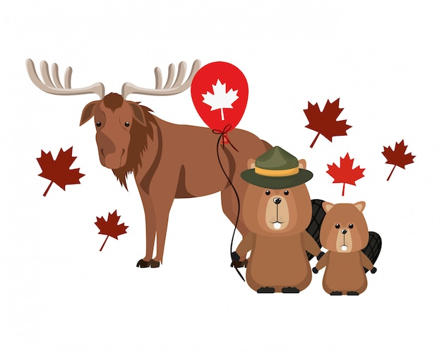 Beaver and moose animal of canada Free Vector