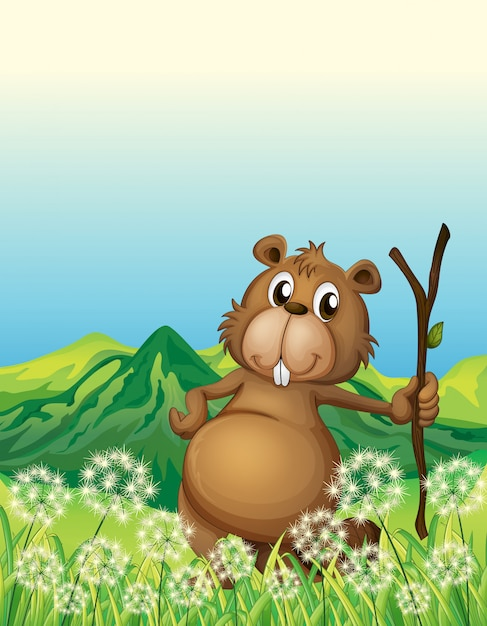 A beaver near the grass Free Vector