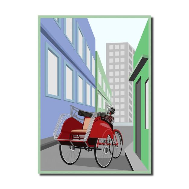 Becak traditional transportation of indonesia Premium Vector