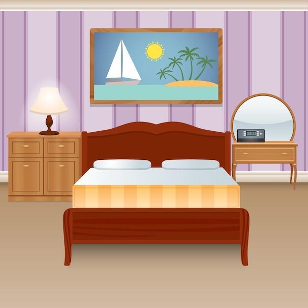 Bed room interior Free Vector