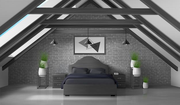 Bedroom attic empty interior modern home mansard Free Vector