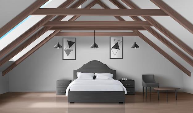 Bedroom on attic, modern home mansard interior Free Vector