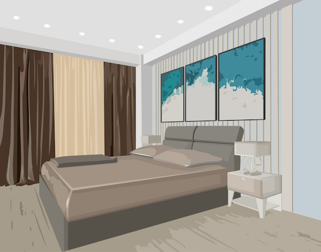 Bedroom concept interior with modern design bed and paintings Free Vector