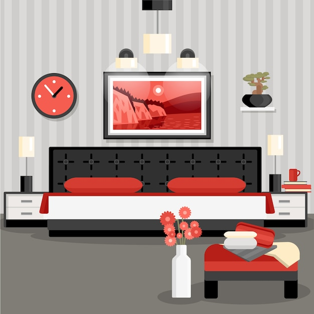 Bedroom design concept Free Vector