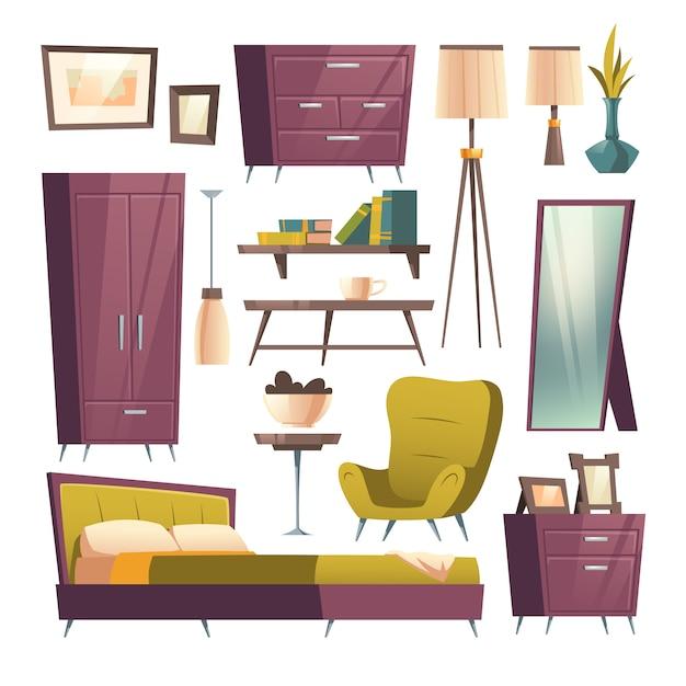 Bedroom furniture cartoon set for room interior Free Vector