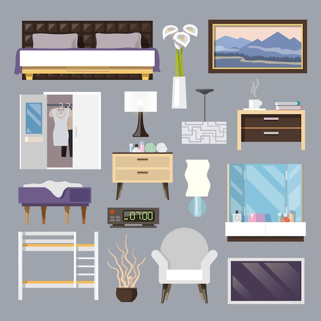 Bedroom furniture flat icons set Free Vector
