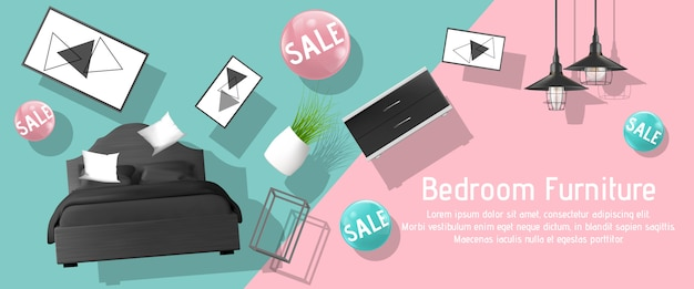 Bedroom furniture sale ad banner template Free Vector