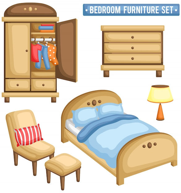 Bedroom furniture set Premium Vector