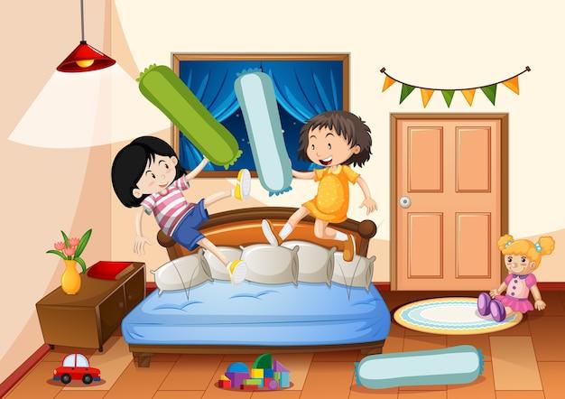 Camera da letto della ragazza con molti giocattoli con due ragazze Vettore gratuito