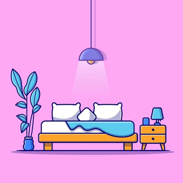Иллюстрация спальни Бесплатные векторы