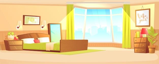 Bedroom indoor interior banner concept. cozy hotel room for couple. luxury furniture. Free Vector
