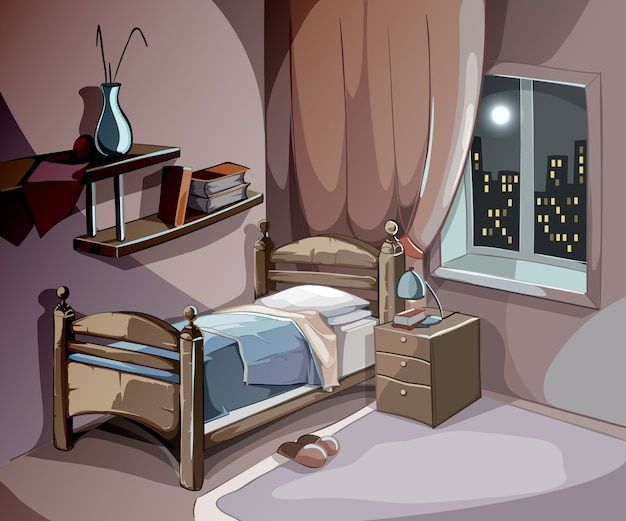 만화 스타일의 밤에 침실 인테리어입니다. 벡터 수면 개념 배경입니다. 침대 가구가있는 일러스트레이션 룸, 수면 휴식과 꿈을위한 편안함 무료 벡터