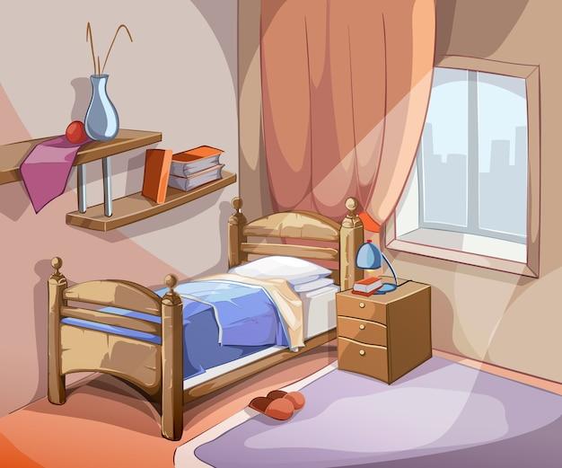 Interno camera da letto in stile cartone animato. mobili di design letto appartamento al coperto. illustrazione vettoriale Vettore gratuito