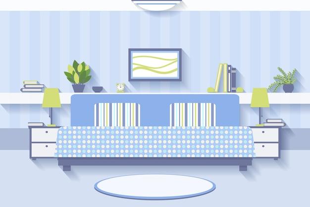 Interior design della camera da letto. appartamento e interni confortevoli, lussuosi e luminosi. Vettore gratuito
