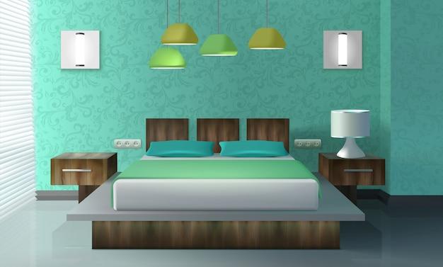 Bedroom interior design Free Vector