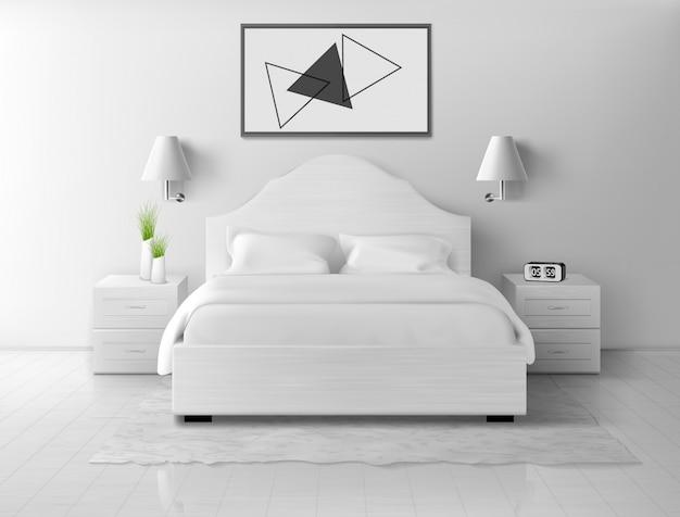 Bedroom interior, home or hotel empty apartment Free Vector